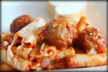 Image result for ziti and meatballs image