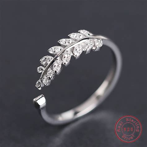 real sterling silver ring for women new design leaves