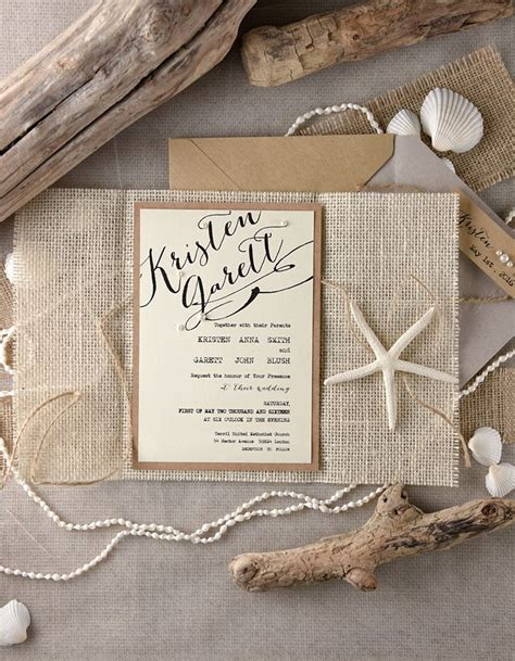 rustic beach themed wedding invitations from