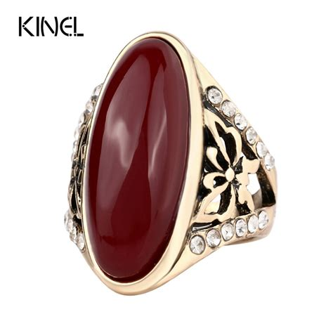 fashion gold plated turquoise rings for women unique