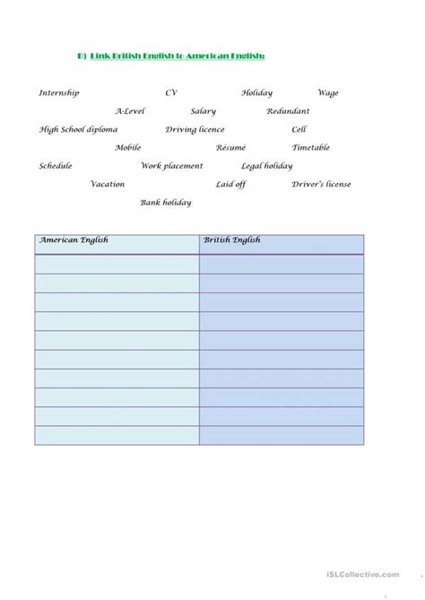 cv job interview vocabulary exercises worksheet free