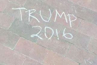 Image result for images of trump 2016 on sidewalk