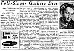 Image result for Woody Guthrie Death