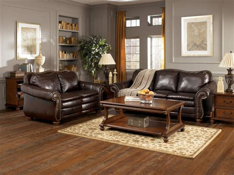 fetching grey living room with brown furniture design