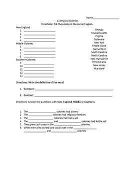 original colonies worksheet quiz th grade by hellie