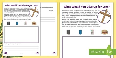 ks what would you give up for lent worksheet