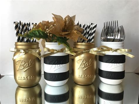black and white striped and gold metallic painted mason