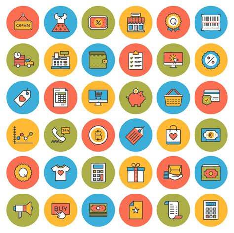 download flat line ecommerce icons free inside