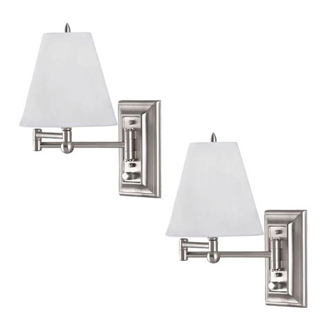 brushed nickel wall mount swing arm reading bedside lamp