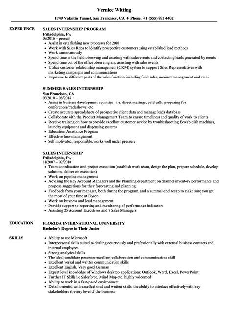 sales internship resume samples velvet jobs