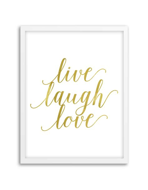 live laugh love wall art gold chicfetti