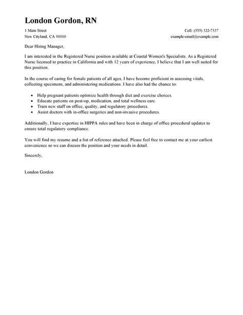 Cover Leter For A Registered Nurse