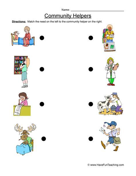 community helper worksheet matching