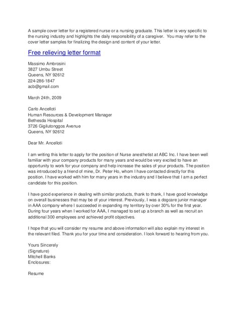 SAMPLE COVER LETTERS FOR NURSES