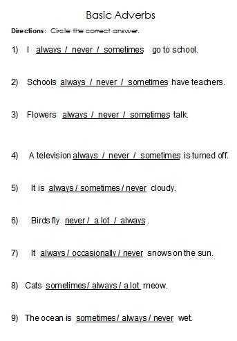 adverbs word list and worksheets free language stuff