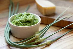 Image result for images of garlic scape pesto
