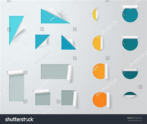 paper cut out labels pealed back template stock vector