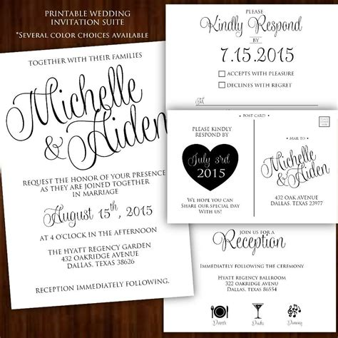 printable wedding invitation classic calligraphy suite
