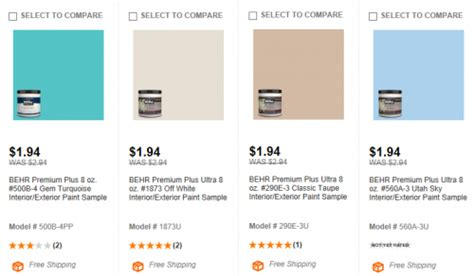 home depot behr paint samples shipped
