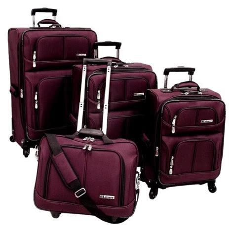 leisure lightweight piece luggage set merlot one size