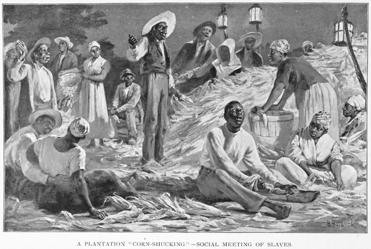 "A plantation ""corn-shucking""-social meetings of slaves. - NYPL Digital Collections"