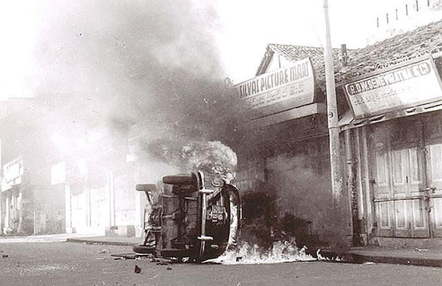 Tamil car burning 1983 Black July pogrom riot Sri Lanka