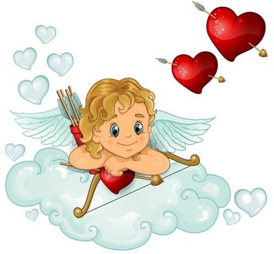 immagine di Cupido sulla nuvola con intorno due cuori
