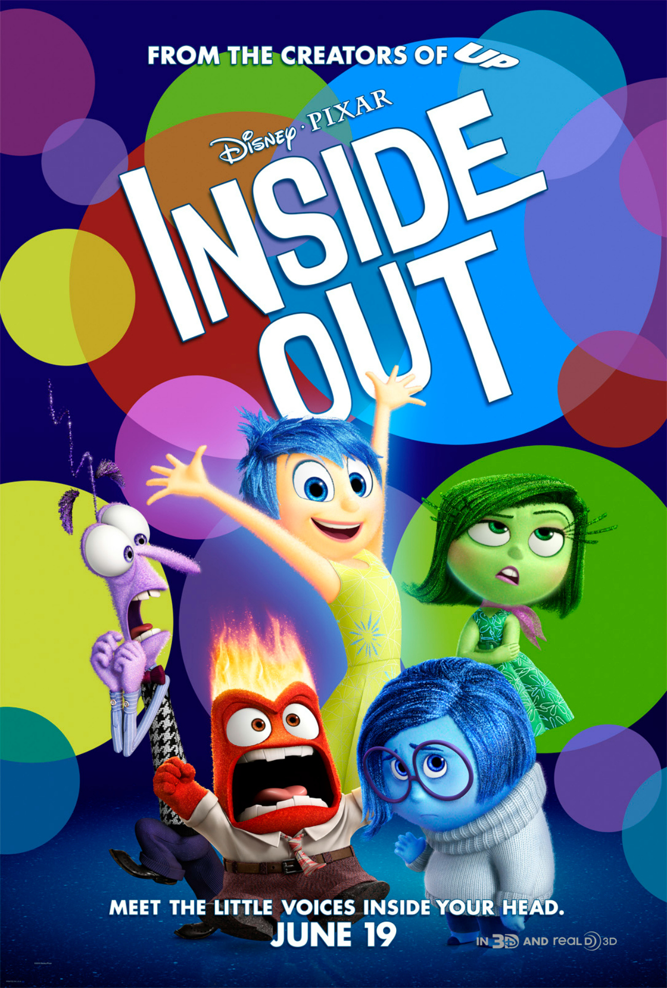 Poster of Inside Out, A Disney movie. It has 5 anime pictures on the poster depicting 5 major emotions. Using this for one moment at a time on One Happy Amma.