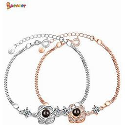 Spencer Women Double Heart Projective Bracelet Memory Of Love Nanotechnology Bracelet Anklet In 100 Different Languages Gifts For Girlfriend Rose Gold
