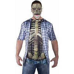 Blue Photo-Real Skeleton Shirt Adult Halloween Costume, Men's, Size: 42-46