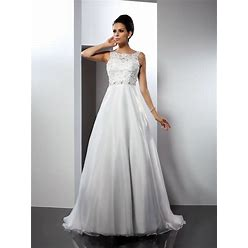 Wedding Dresses A-Line Scoop Satin White Long 2021