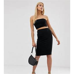 ASOS DESIGN Tall High Waisted Pencil Skirt-Black - Black (size: 12)