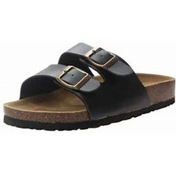 Lowestbest Sandals For Women, 005bk36ns Women's Light Weight Double Buckles Slide Sandal, Black Summer Beach Soft Adjustable Buckle Flat Open Toe