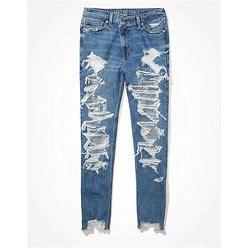AE Stretch Crossover Ripped Highest Waist Mom Jean Women's Blown Out Blue 2 Long