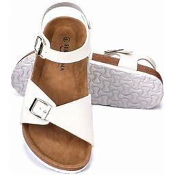 Seranoma Women's Comfort Cork Double Strap Sandal | Secure Adjustable Ankle Strap, Size: US 9, White