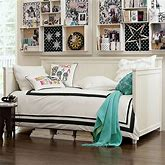 Beadboard Daybed & Trundle With Plush Pillow Mattress Set, Twin, White