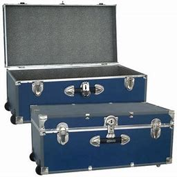 Seward Trunk Collegiate Collection 30 Inch Storage Trunk With Wheels, Navy Blue, Size: One Size