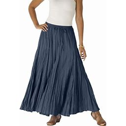 Plus Size Women's Cotton Crinkled Maxi Skirt By Jessica London In Navy Blue (22)