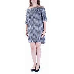 Bar III $80 Womens New 1175 Black Geometric 3/4 Sleeve Shift Dress XS B+B, Women's