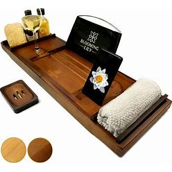 Blooming Lily Bathtub Tray - Premium Bath Caddy With Wine Glass Holder, Cloth Rest iPad Stand And More - Suitable For Most Baths (Brown)