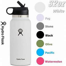 Hydro Flask 32Oz Wide Mouth 2.0 Water Bottle, Straw Lid, Multiple Colors - White, New Design, Size: 10.2
