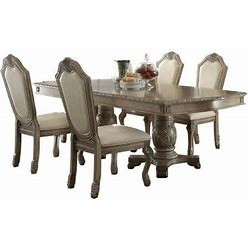 Chateau De Ville Collection 640657 5 PC Dining Room Set With Extendable Dining Table And 4 PU Leather Upholstered Side Chairs In Antique White