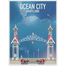 """""""""""Ocean City Maryland"""" By Old Red Truck, Canvas Art, 19""""X14"""", Ocean/Red, Posters, By Trademark Fine Art"""""""