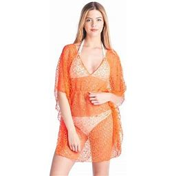 Shore Trendz Women's Crochet Short Sleeve Swimwear Cover-up Beach Dress Made In USA, Size: One Size, Orange