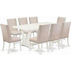 East West Furniture V-Style 9-Piece Wood Dinette Set In Linen White - V027FL201-9