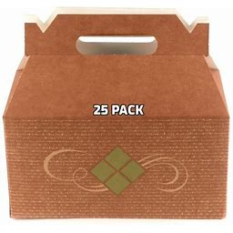 [25 Pack] Brown Treat Gift Boxes - Paper Gable Boxes, Paper Lunch Boxes With Handle, Barn Boxes - Birthday's, Weddings, Baby Shower Favor Box,
