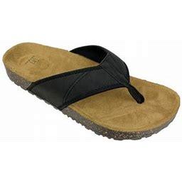 George Men's Faux Leather Flip Flop Sandal, Size: 8, Black