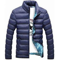 Fantadool Winter Jacket Men Fashion Stand Collar Male Parka Jacket Mens Solid Thick Jackets And Coats Man Winter Parkas M-4Xl, Men's, Size: 2XL, Black