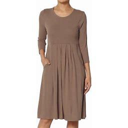 Themogan Women's Plus 3/4 Sleeve Stretch Jersey Pleated Waist Babydoll Dress, Size: 1XL, Brown