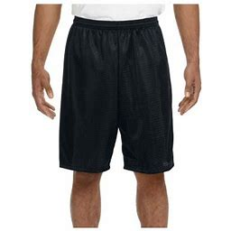 A4 Men's Moisture Wicking Tricot Performance Mesh Short, Style N5296, Size: Medium, Black